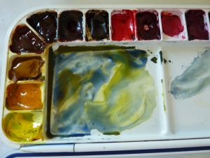 Mixed Colours Granulating in my Palette