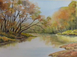 (6)  Finally it was time to add the water and reflections.  Little by little I added the reflected colours of the trees, putting sky colour in the closer water area.  I used downward strokes to reflect the colour and then worked horizonatally to show movement on the water.