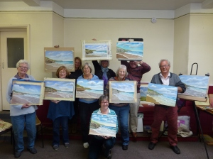 Padstow Art Group with their finished paintings