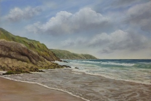 "Incoming Tide at Gorran Haven (22"" x 15"") by Yvette WIltshire"