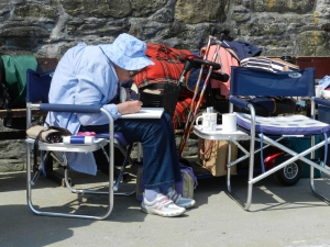 Sue, always hard at work when others had left their post for a chin wag on the Painting Holiday, Mevagissey in 2013.