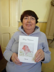 Sue showing off one of her printed Christmas Cards in 2008